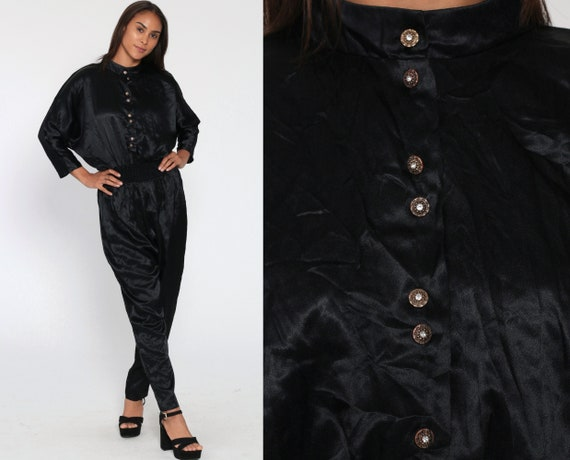 Black Satin Jumpsuit 80s Button Up TAPERED Pants Dolman Sleeve Jumpsuit Onesie Disco Pantsuit Vintage High Waist Romper Pants Small Medium
