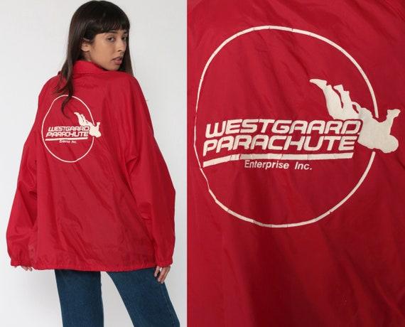 Red Windbreaker Jacket -- WESTGAARD PARACHUTE Jacket Snap Up Jacket 80s Windbreaker Jacket Vintage 1980s Lightweight Extra Large xl xxl