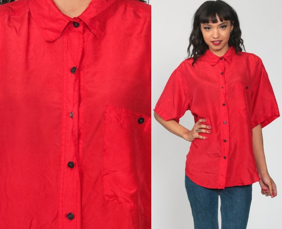 Red Silk Shirt Button Up Shirt 90s Short Sleeve Blouse 1990s Oversized 90s Grunge Oversize Vintage Retro Plain Top Large