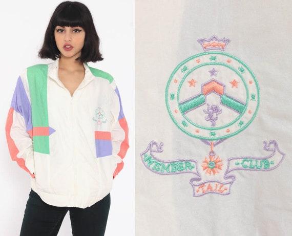 90s Windbreaker 80s Jacket White Jacket Striped Nautical Pink Green Color Block Print Hipster Vintage 1990s 1980s Medium