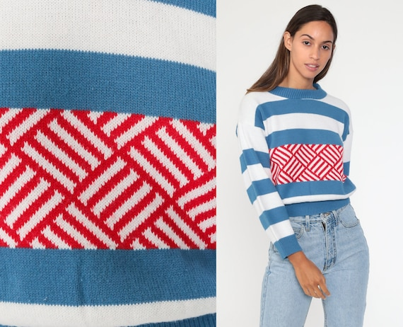 White Striped Sweater 80s Blue Red Pullover Sweater Retro Nerd Slouch Jumper Vintage Extra Small xs