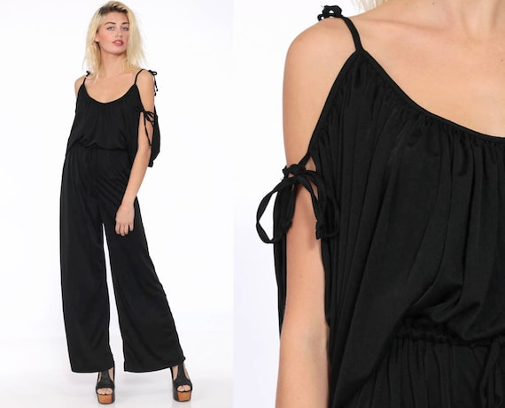 70s Cold Shoulder Jumpsuit Black Flared Bell Bottom Catsuit Party 1970s Disco Pantsuit Slouchy Gypsy Vintage Pants Romper Medium Large