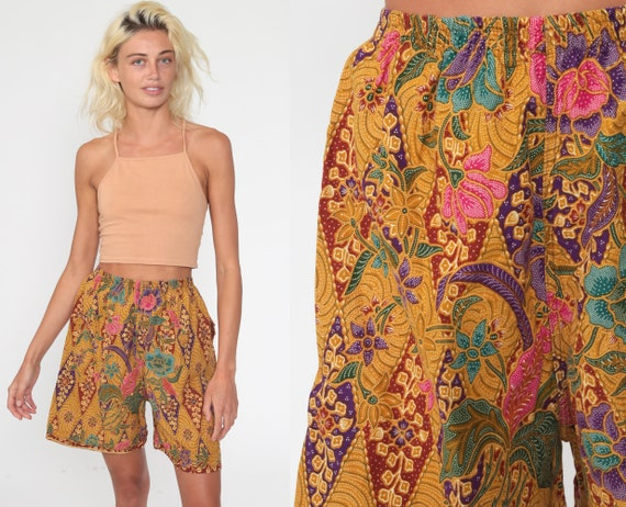 Floral Batik Shorts Beach Shorts 90s Shorts Yellow Cotton Summer High Waisted Retro Vintage 1990s Hipster Extra Small xs s