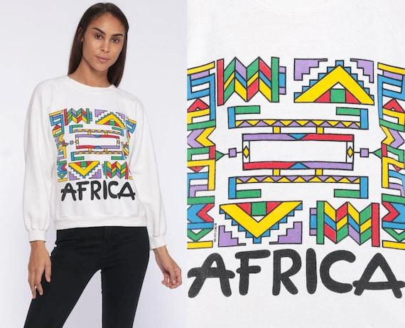 80s Africa Sweatshirt -- Tribal Colorful Geometric Print 90s Sweater Crewneck Jumper Pullover Zulu Vintage Small