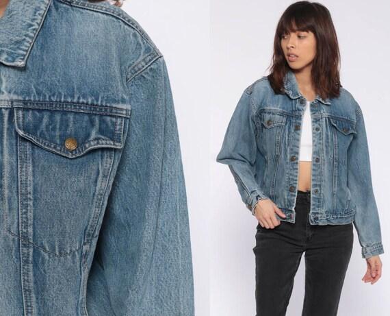 Calvin Klein Jacket 90s Denim Jacket Jean Jacket Grunge Biker CK Vintage Snap Up Hipster Blue Trucker Medium