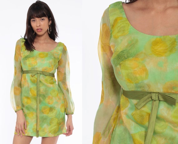 60s Party Dress Green Sheer Sleeve Mod Floral Mini Empire Waist Cocktail Party Babydoll Vintage 1960s Sheath Mad Men Bow Extra Small xs