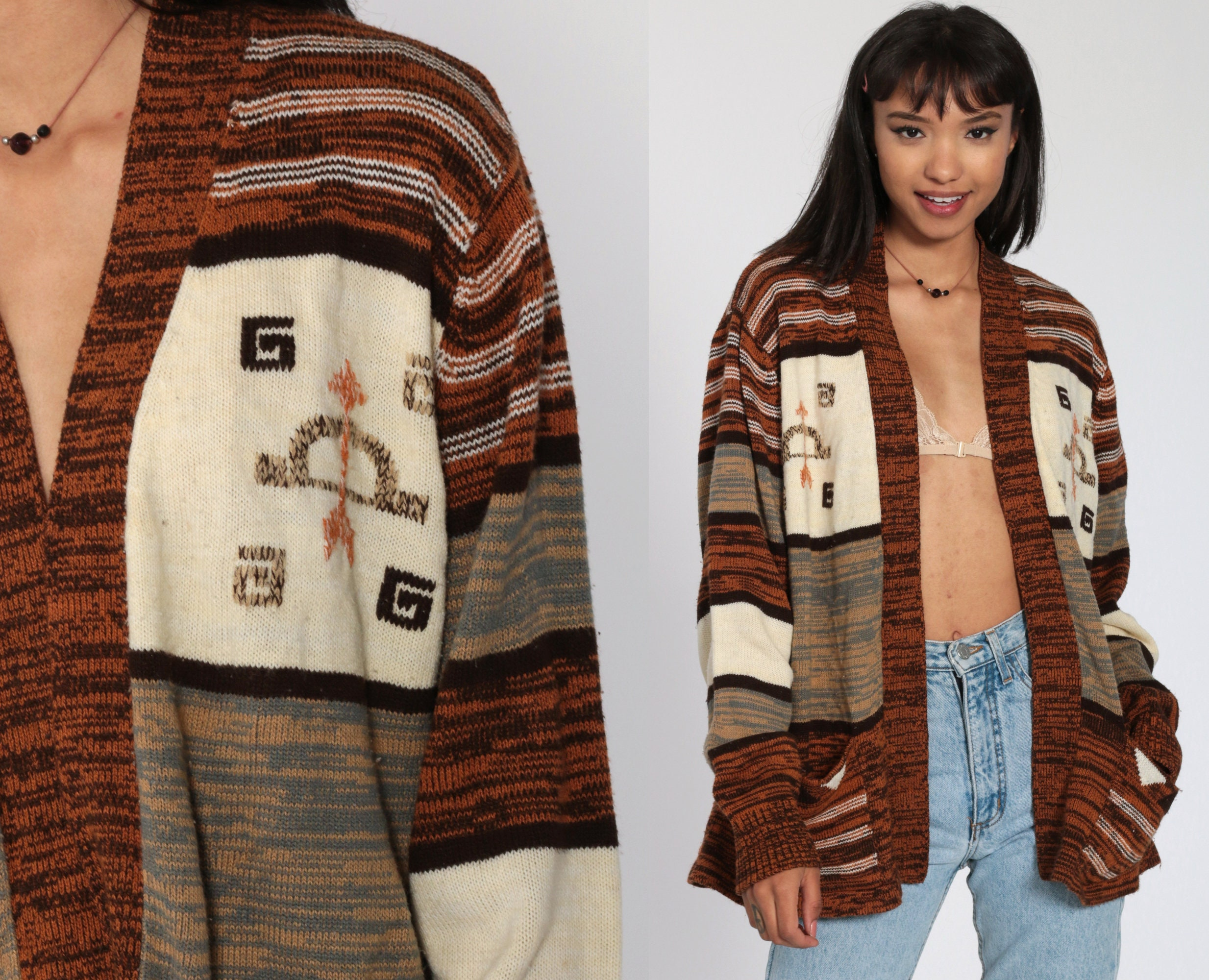 70s Wrap Cardigan BOW AND ARROW Boho Sagittarius Sweater Southwest Orange Space Dye Bohemian Cardigan Vintage Knit 1970s Hippie Medium