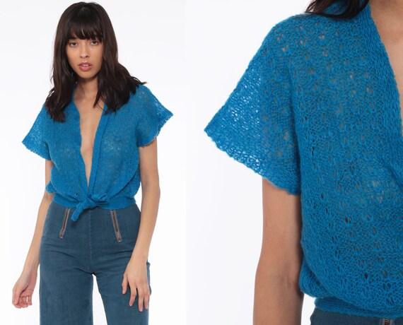Knit Plunging Top Boho Blouse 70s Sweater Shirt Sheer Blue Short Sleeve 80s Bohemian Deep V Neck Plunge Festival Medium