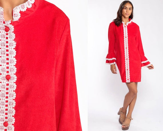 Pajama Robe Dress 70s Mini Lounge Wear Robe Red Lace Long Sleeve Loungewear Dress Tent Boho Hippie 1970s Shift Vintage Extra Large xl