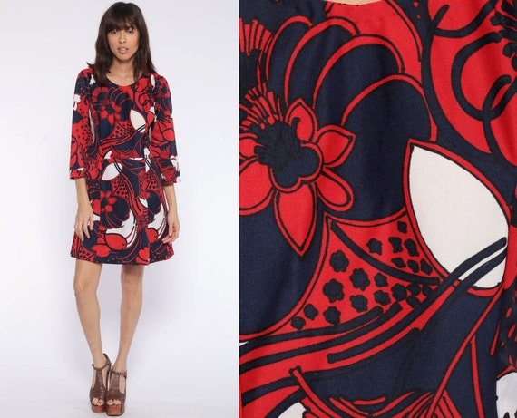 Floral Shift Dress 60s Mod Mini Red Blue Print Hippie Vintage 1960s Gogo Twiggy Sixties Minidress 3/4 Sleeve Medium