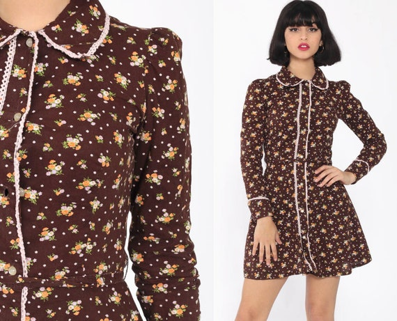 PETER PAN Dress 70s Brown Collar Long Puff Sleeve Mod Floral Mini Vintage Boho Hippie Button Up 1970s High Waist Bohemian Extra Small xs