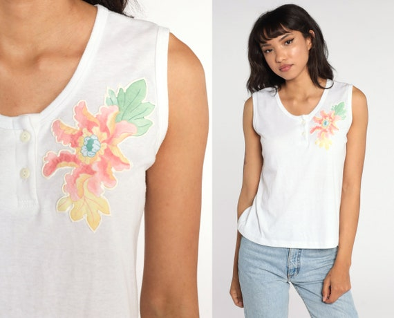 Floral Tank Top 80s Shirt White Shirt Sleeveless Top Henley Tank Top 1980s Vintage Single Stitch Small