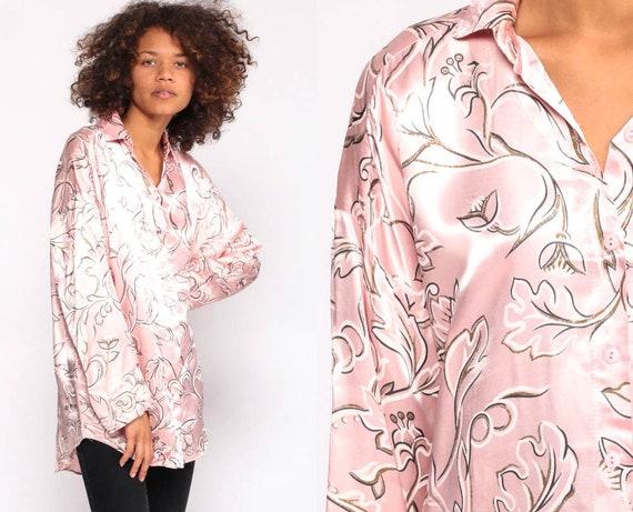 Pink Satin Shirt 90s Blouse Floral Shirt Grunge Button Up Top 80s Long Sleeve Shirt Pastel Shirt Vintage Small