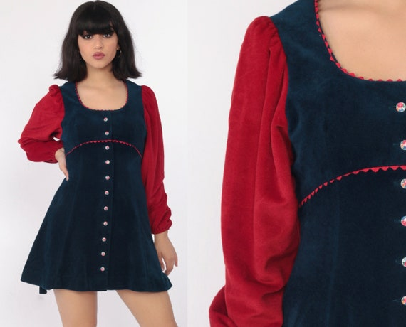 Velour Babydoll 70s Mini Dress Puff Sleeve Babydoll Velvet Button Up Empire Waist 1970s Vintage Retro Red Navy Blue Winter Extra Small xs