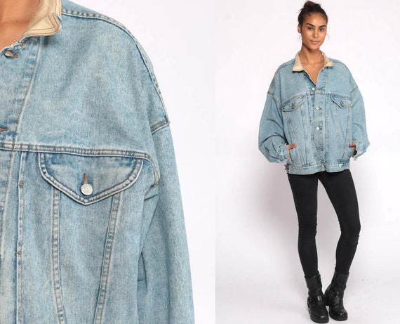 GUESS Jean Jacket 80s Denim Jacket Vintage Georges Marciano Jacket Oversized 90s Streetwear Guess Jeans Blue Button Up Extra Large XL