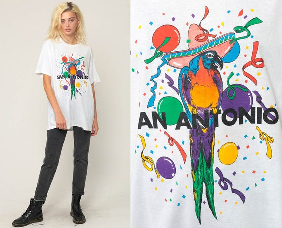 San Antonio T Shirt Parrot Shirt Tropical Shirt Bird Tee 80s Burnout Tshirt Texas Party Vintage Retro T Shirt Tee 1980s Graphic Large