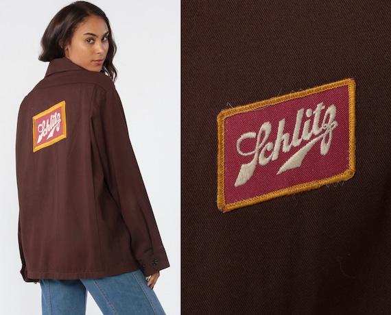 Work Wear Jacket SCHLITZ Beer Jacket 70s Jacket Uniform Brown Retro Alcohol Zip Up 80s Retro Workwear Oversized Vintage Medium Large