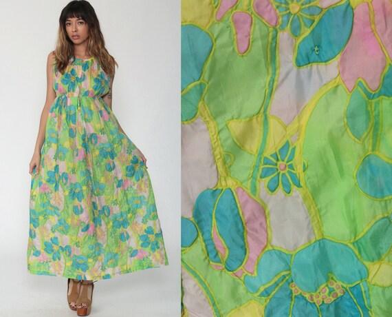 70s Floral Nightgown Slip Dress Lingerie 70s Maxi Boho CUTOUT Blue Green Empire Waist Vintage Bohemian Small
