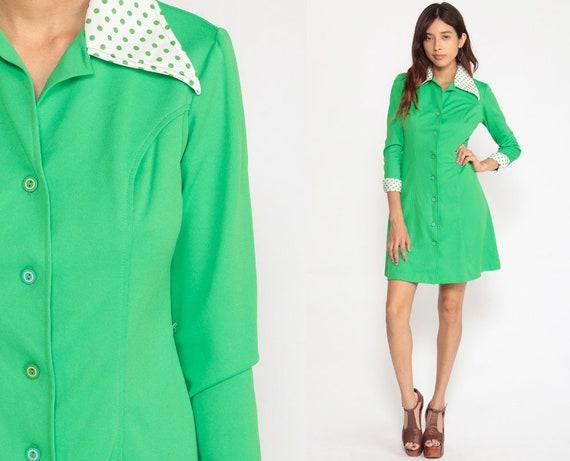 Mod Dress Shirtdress 70s Button Up Mini Shift Dress Bright Green Collared Sheath 60s Long Sleeve Vintage Twiggy Shirt Dress Small Medium