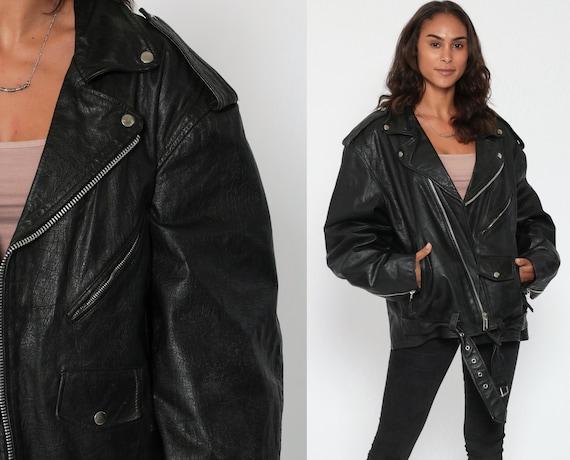 80s Leather Biker Jacket 2xl -- Black Leather Jacket Wilsons 80s Motorcycle Vintage Moto Punk Rock 1980s Oversized Men's xxl Extra Large