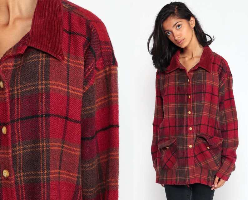 2858e31e Red Plaid Shirt 90s Grunge Flannel WOOL Blend Corduroy Collar | Etsy