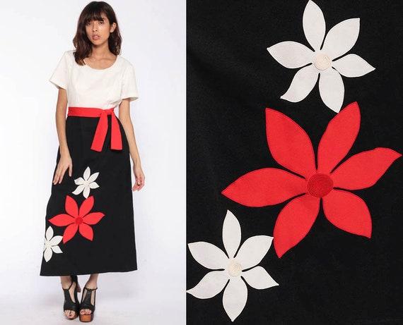 Black Red Floral Dress 70s Hippie Dress Maxi 1970s Boho Graphic High Waist Bohemian Vintage Off White Short Sleeve Full Length Large