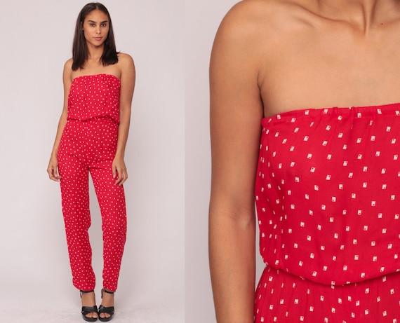 Strapless Jumpsuit 70s Disco High Waist Red Geometric Romper Pant Skinny Boho 80s Onesie Vintage Pantsuit Sleeveless Bohemian Small xs