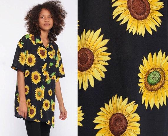90s Sunflower Shirt Vintage Button Up Shirt -- 1990s Floral Blouse Black Shirt Button Up Shirt Grunge Yellow Oversize Medium Large