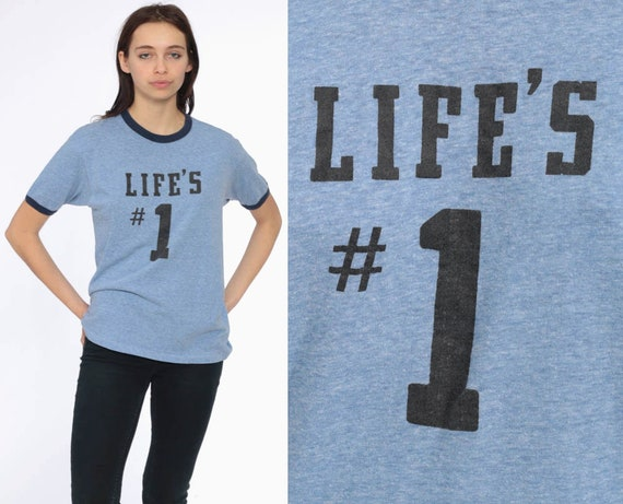 80s Blue Ringer Tee Shirt -- LIFE'S #1 1980s Heather Blue TShirt Plain TShirt 90s T Shirt Funny Shirt Retro Tee Vintage Medium Large