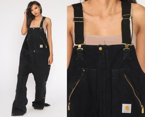 90s Carhartt Overalls -- Black Insulated Coveralls Quilted Overalls Workwear Cargo Dungarees Bib Coveralls Work Wear Men's 42 Large