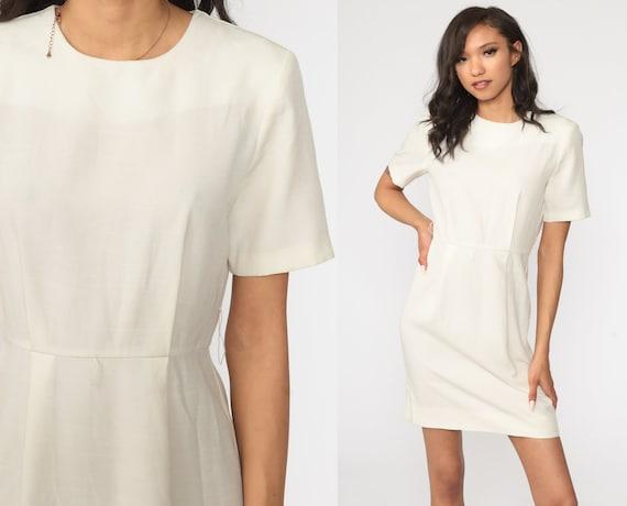 80s Mini Dress Plain Off-White Sleeve High Waist Dress Plain Simple Day Dress Casual Dress Vintage Boho Small S