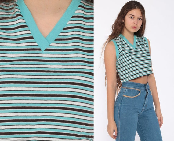 70s Tank Top Striped Crop Top Ringer Tee V Neck Shirt Retro Sleeveless Bohemian 1970s Vintage Summer Blue White Extra Small xs