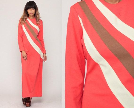 70s Maxi Dress Striped Mod Bohemian Hippie 1970s Boho Asymmetrical Coral Sheath Long Sleeve Vintage Polyester Small Medium