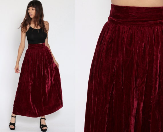 Velvet Maxi Skirt 70s Boho BURGUNDY Goth 1970s Long Button Up Red Vintage Hippie Festival Gothic Drape Goth Party Bohemian Extra Small XS