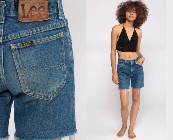 Denim Cutoffs Shorts Cut Off Shorts 80s Denim Shorts LEE Jeans Cutoff Jean Shorts High Waisted Cutoffs Blue Vintage Extra Small xs 00 24