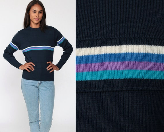 80s Sweater Navy Blue Striped Sweater Knit Pullover Purple Teal Kawaii Cute Wool Blend Sweater 1980s Vintage Retro Extra Small XS