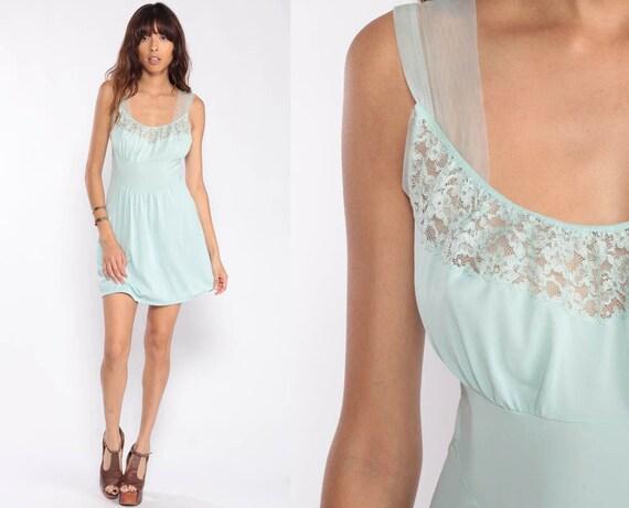 Lingerie Slip Dress 70s Mini Boho Babydoll Nightgown Sexy Pajama Pinup Pastel Blue Lingerie Vintage 1970s Romantic Small