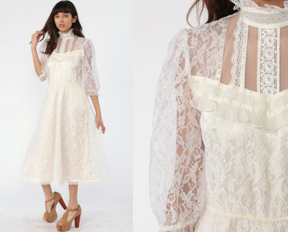 Victorian Wedding Dress 80s Gunne Sax Dress White Lace Party Puff Sleeve Midi Illusion Cocktail 1980s Bohemian Vintage Formal Extra Small xs