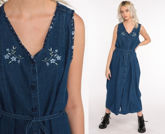 Floral Denim Dress EMBROIDERED Dress 90s Midi Jean Jumper Dress Pinafore Grunge Dress Vintage 1990s Button Up Sleeveless Large