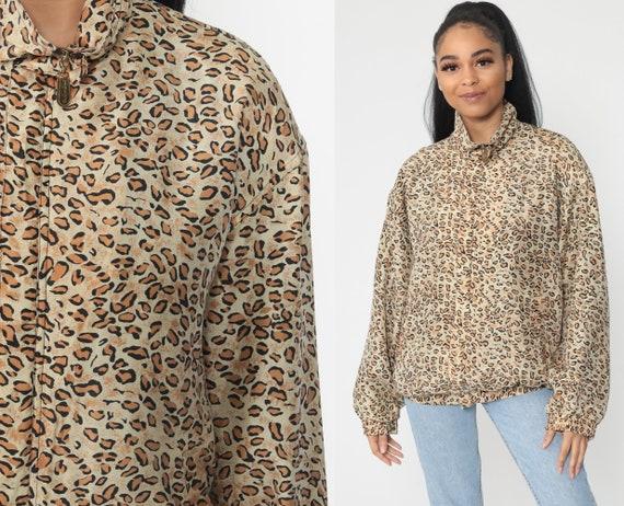 Silk Leopard Jacket Animal Print Windbreaker Jacket 90s Cheetah Jacket Slouchy Hipster Vintage 1990s Women Medium Large