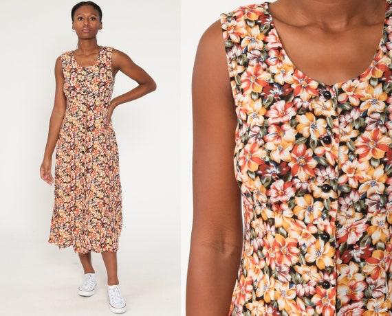 VTG 1990s Grunge Floral Linen Midi Jumper Dress Sleeveless Button Up 90s Medium M