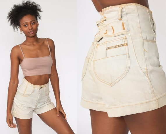 90s Jean Shorts -- High Waisted Shorts Light Blue