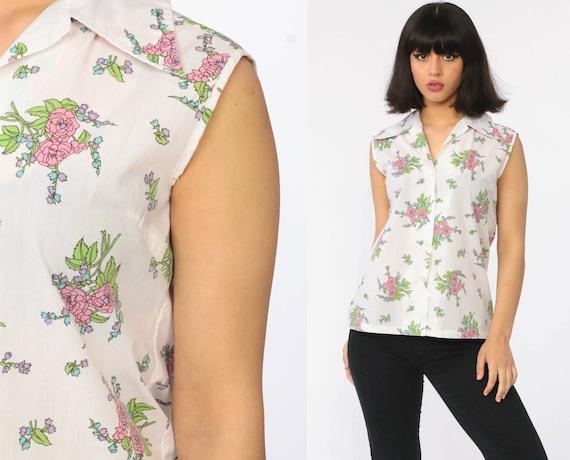 70s Floral Blouse White 70s Top Button Up Shirt Collared Shirt Bohemian Semi Sheer Boho Blouse 1970s Hippie Top Sleeveless Small Medium