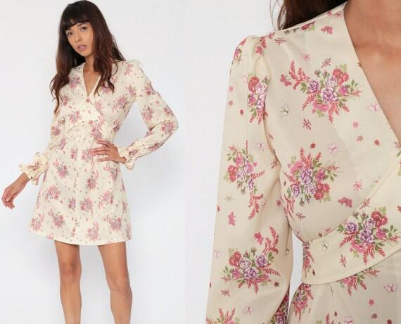 Floral Babydoll Dress 70s Mini BOUQUET Print Boho Empire Waist Mod Puff Sleeve Cream  Pink 1970s Bohemian Hippie Vintage Medium Large