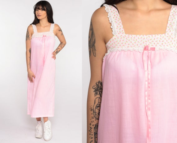 Pink Tent Dress 70s Bohemian Midi Baby Pink Floral Sundress Vintage Tent Tunic Trapeze Hippie Festival Summer Sleeveless Sun Extra Small xs
