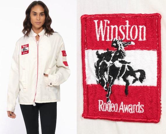 WINSTON Cigarette Jacket -- White 70s Bomber Cafe Racer Rodeo Cowboy Windbreaker Uniform Patch Moto Vintage Thin Lightweight Medium Large