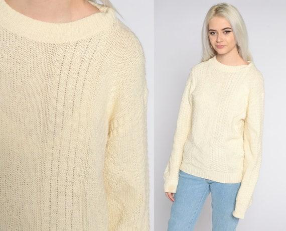 Cream Sweater 80s Slouchy Textured Pullover Beige Plain 1980s Jumper Vintage Preppy Normcore Medium Large