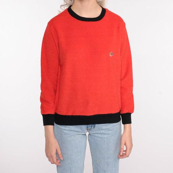 Terry Cloth Sweater 70s Red-Orange Umbrella Shirt… - image 5