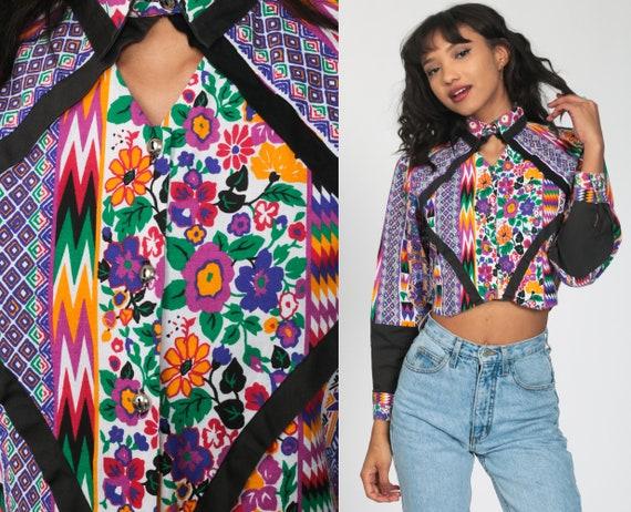 Southwestern Shirt 90s Rainbow Keyhole Blouse Southwest Crop Top Cutout Shirt Western Button Up Cut Out Vintage 1990s Boho Small