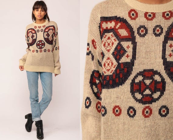 Tribal Sweater 80s Boho Geometric Print Slouchy 70s Bohemian Tan Vintage Pullover Jumper Acrylic Knit Abstract Aztec Medium